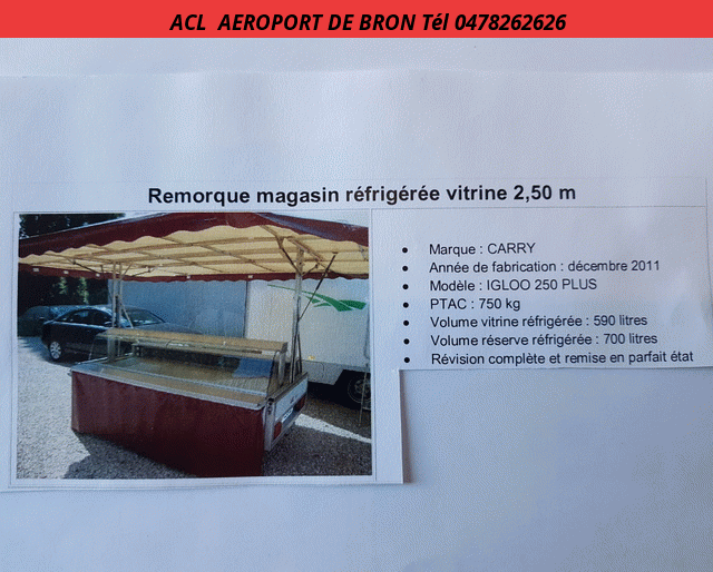 CARRY REMORQUE  MAGASIN REFRIGEREE PTAC 750 KG